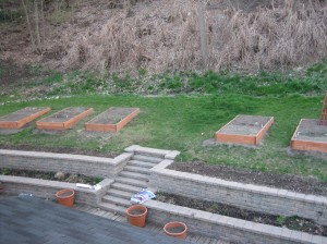 Taken from the roof of my garage, the raised beds.