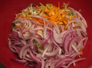 Coleslaw waiting for dressing